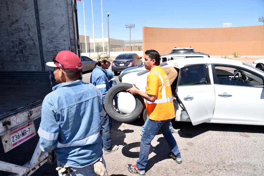 Reunió Servicios Públicos Municipales 2 mil 739 llantas de desecho