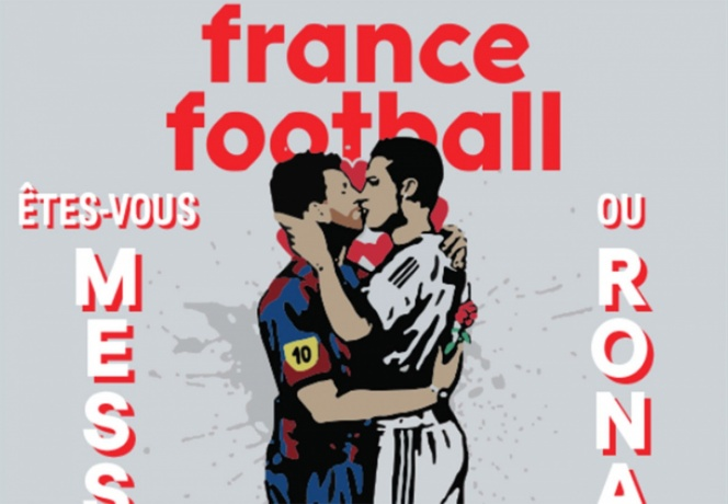 Messi y Ronaldo se besan en la portada de France Football