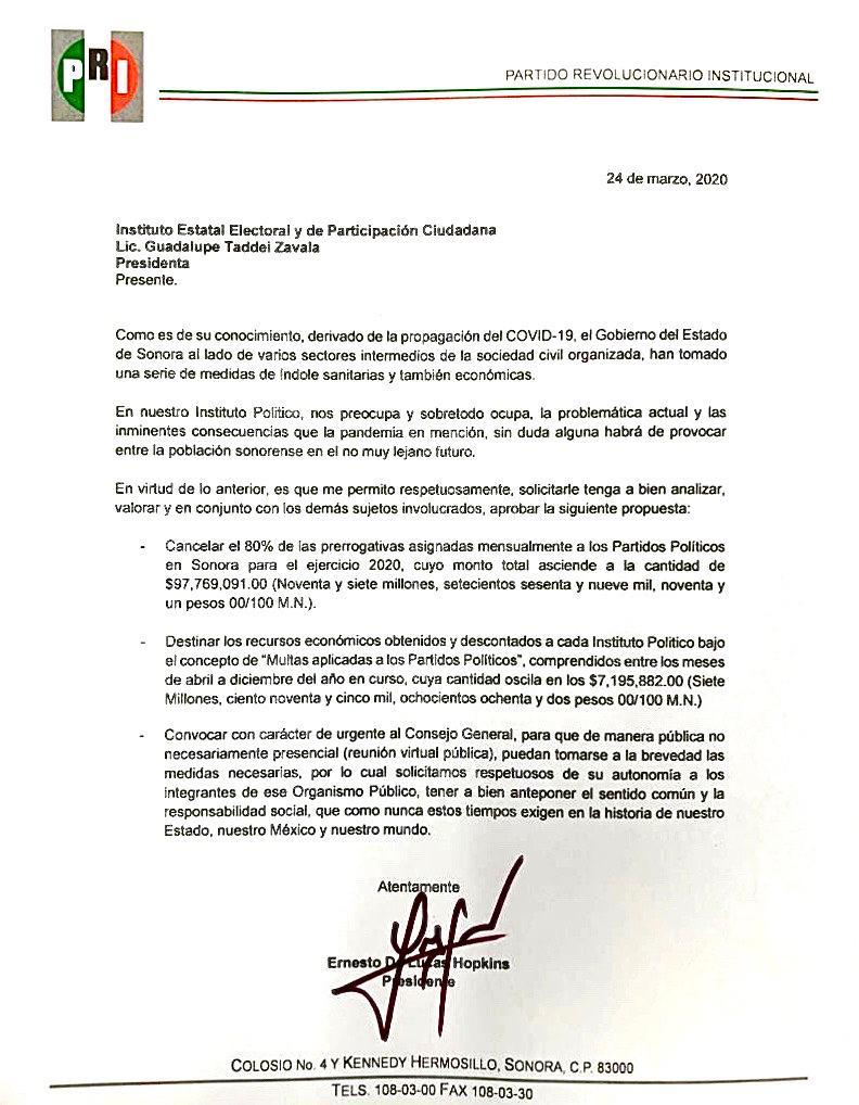 Exige Ernesto De Lucas a partidos a unirse al llamado de redireccionar prerrogativas por Covid-19